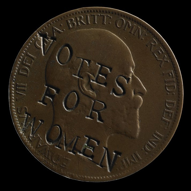 British Penny Defaced in Protest by a Suffragette